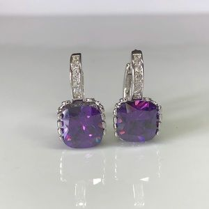 Princess Cut Amethyst 18K WG Silver Earrings!